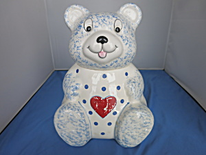 Bear Cookie Jar Heart Made In Brazil Sponge-ware Motif