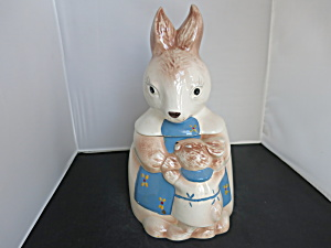 Vintage Bunny Rabbit Cookie Jar Baby Boy Bunny Mamma