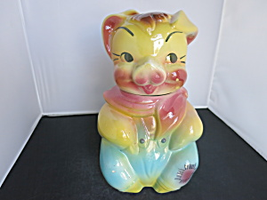 American Bisque Pig Cookie Jar Boy With Patch 1950s