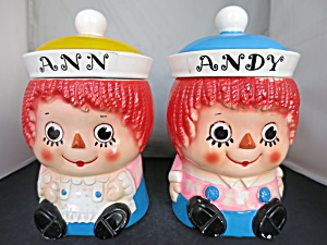 Vintage Raggedy Ann Raggedy Andy Cookie Jar Set