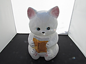 White Cat Holding Cookie Book Cookie Jar Taiwan