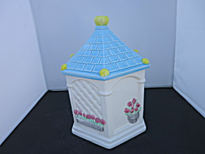 Gazebo Cookie Jar Roses Blue Roof