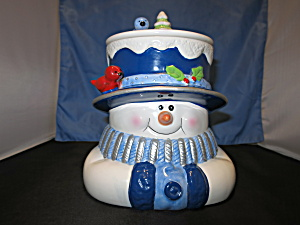 Houston Harvest Snowman Cookie Jar Cardinal