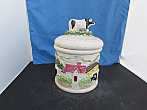 Japan Ceramic Cookie Jar Cow Barn Country Kitchen