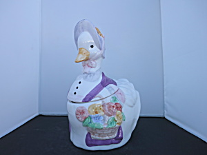 Duck Cookie Jar Purple Hat And Flowers China Late 1970s