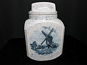 Windmill Ceramic Cookie Jar Hand Made Unmarked Dutch