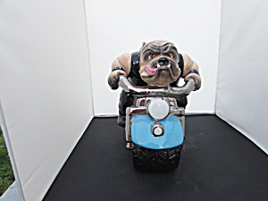 Clay Art Rough Rider Cookie Jar Bull Dog On Harley