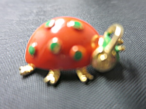Enamel Painted Lady Bug Pin Unsigned