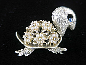 Vintage Turtle Pin Floral Faux Pearl Blue Rhinestone