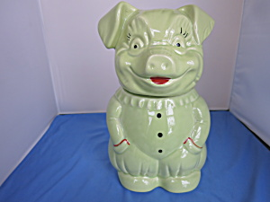 American Bisque Green Pig Cookie Jar Usa 1950s