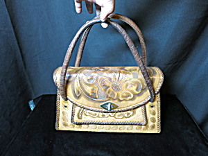 Vintage Hand Tooled Leather Handbag Made In Mexico