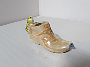 Lusterware Cat On Shoe Made In Japan