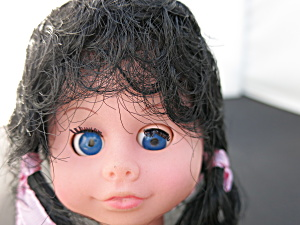 Vintage Sleep Eye Doll Head Rooted Black Hair