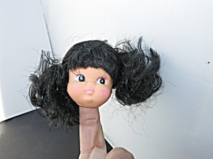 Vintage Girl Doll Head Crafting Black Rooted Glued Hair