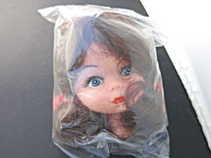 Vintage Girl Soft Rubber Doll Head Crafting Brown Wig