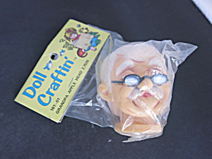 Vintage Grandpa Apple Head Doll Head With Specs