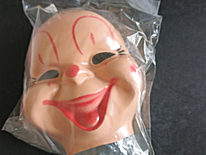 Vintage Plastic Clown Face Mask Head Doll Craft 5 Inch