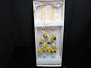 Yellow Floral Taper Candles Vintage Hand Decorated 12in