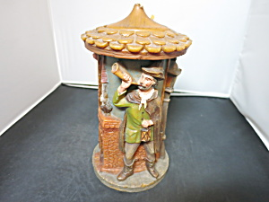 German Figural Candle Double Carved Painted Mid Century