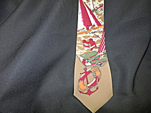 Vintage Mens Tie Silk Sailboat Nautical Hand Made