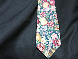 Vintage Mens Neck Tie Floral Cotton Hand Made