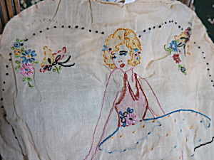 Art Deco Pillow Case Embroidery Flapper Lady Heart