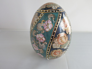 Hand Painted Porcelain Floral Gold Moriage Egg