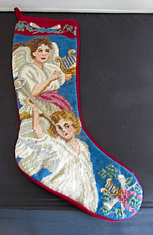 Angel Needlepoint Christmas Stocking Velveteen Back