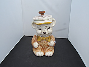 Treasure Craft Bear With Polka Dot Bow Tie Cookie Jar