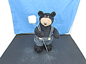 Black Bear With Toasted Marshmallow On Stick Plush Doll