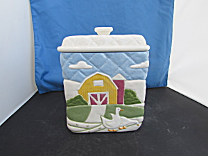 Barn Duck Ceramic Cookie Jar Marked Love You Mom Rare
