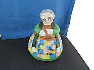 Granny Patchwork Dress Ceramic Cookie Jar