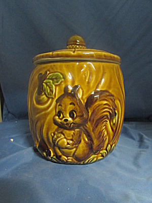 Japan Chipmunk Cookie Jar Cute Rare Find Acorn Knob Lid