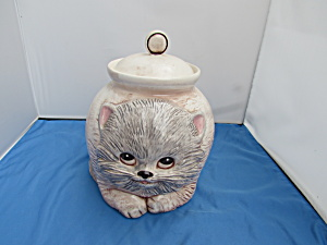 Treasure Craft Cat Cookie Jar 1977 Round Fat Cat