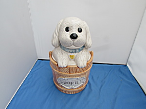 Puppy Dog In Barrel Wooden Bucket Cookie Jar