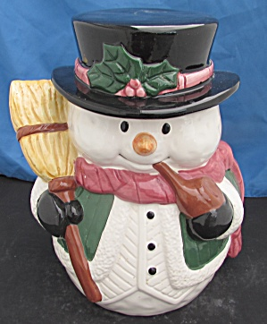 Snowman Cookie Jar Holding Broom Smoking Pipe