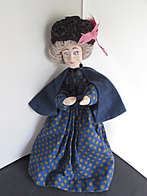 Granny Doll Posable Paper Mache Signed Carolyn Guy