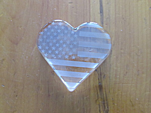 Patriotic Flag Heart Paperweight Acid Etched White Flag