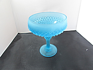 Blue Satin Indiana Glass Diamond Point Compote