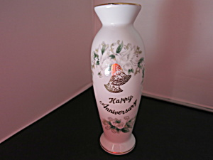 Lefton China Happy Anniversary Bud Vase Circa