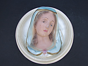 Virgin Mary Madonna Chalkware Wall Plaque
