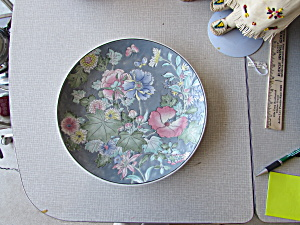 Porcelain Oriental Plate Floral Butterfly Marked