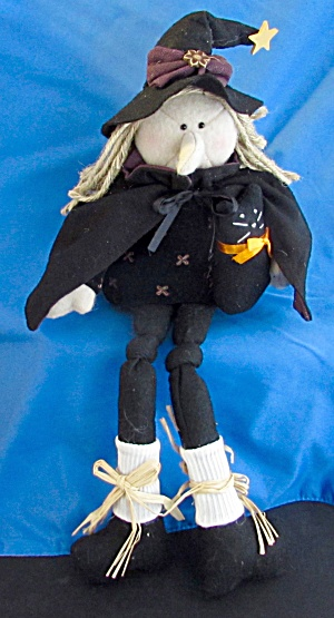 Spooky Hollow Starry Witch Shelf Sitter Cloth Doll