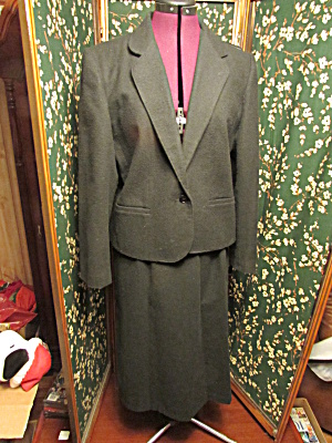 Travis Of London Woman's Black Wool Blazer And Skirt 12