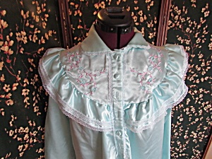 Vintage Moonlight Bay Nightgown Size Small Teal Blue