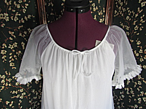 Vintage White Chiffon First Lady Nightgown Size Small