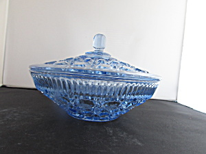 Windsor Indiana Glass Candy Dish & Cover Pastel Blue