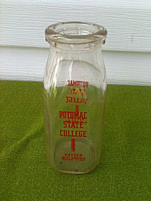 1/2 Pt. Potomac State College Milk Bottle Wv