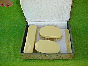 4 Pc. Celluloid Dresser Set W/box