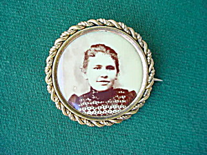 Early, Young Lady Photo Brooch Pinback